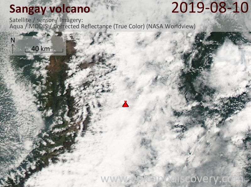 Satellitenbild des Sangay Vulkans am 11 Aug 2019