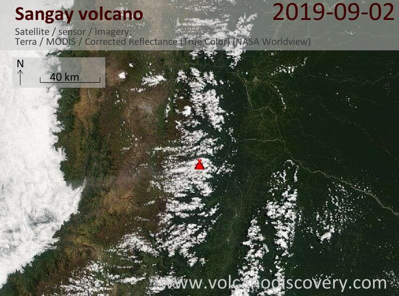 Спутниковое изображение вулкана Sangay  2 Sep 2019