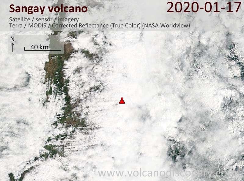 Satellitenbild des Sangay Vulkans am 17 Jan 2020