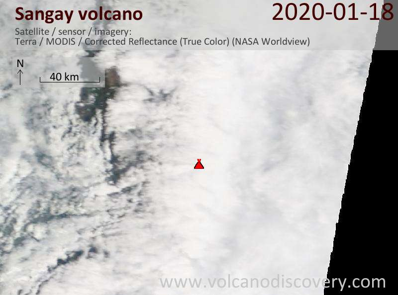 Satellite image of Sangay volcano on 18 Jan 2020
