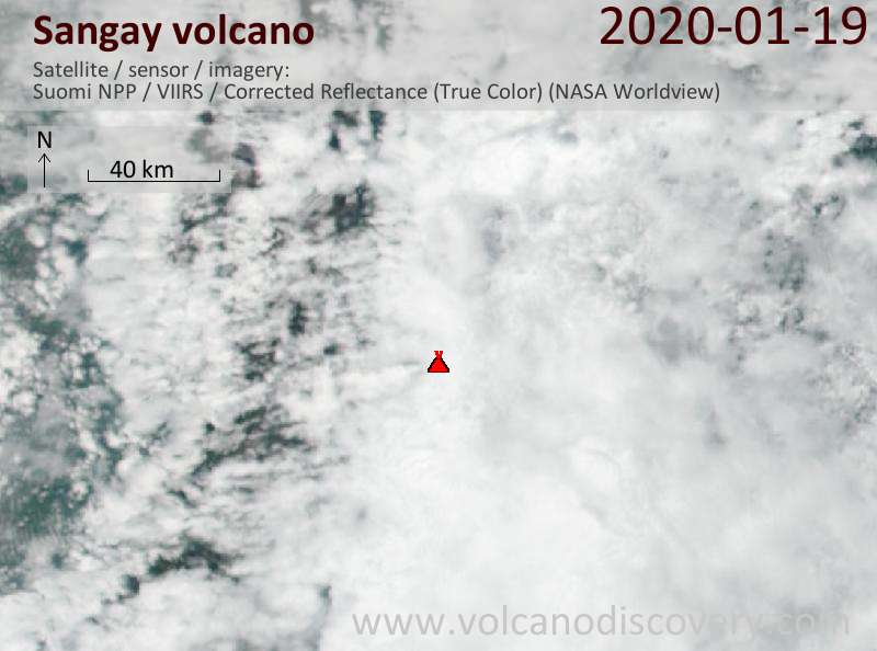 Satellite image of Sangay volcano on 20 Jan 2020