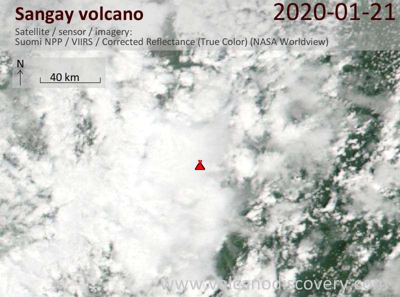 Satellite image of Sangay volcano on 22 Jan 2020
