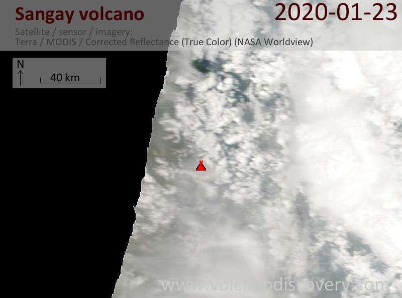 Satellitenbild des Sangay Vulkans am 23 Jan 2020