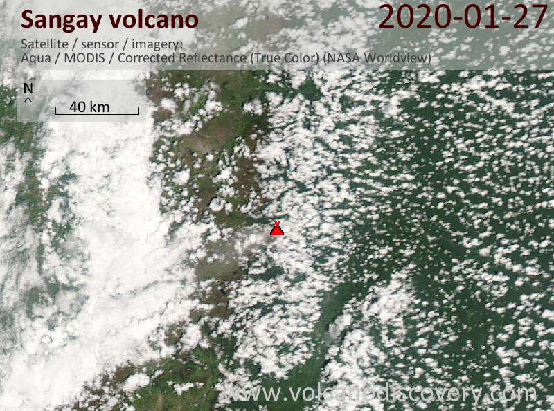 Satellitenbild des Sangay Vulkans am 28 Jan 2020