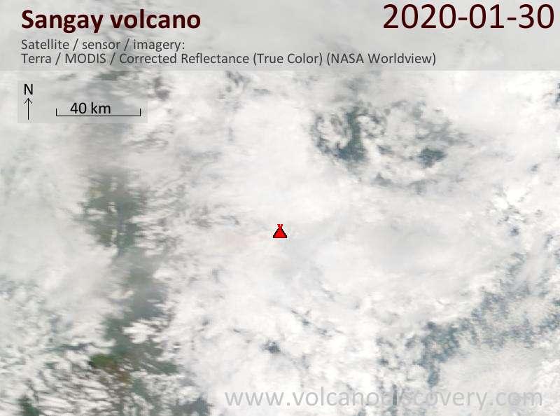 Satellite image of Sangay volcano on 30 Jan 2020