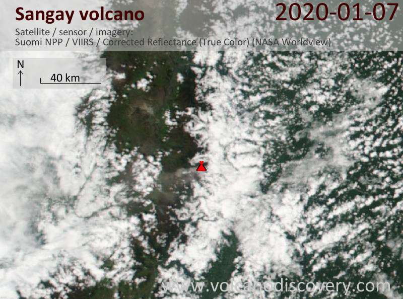Satellite image of Sangay volcano on  7 Jan 2020