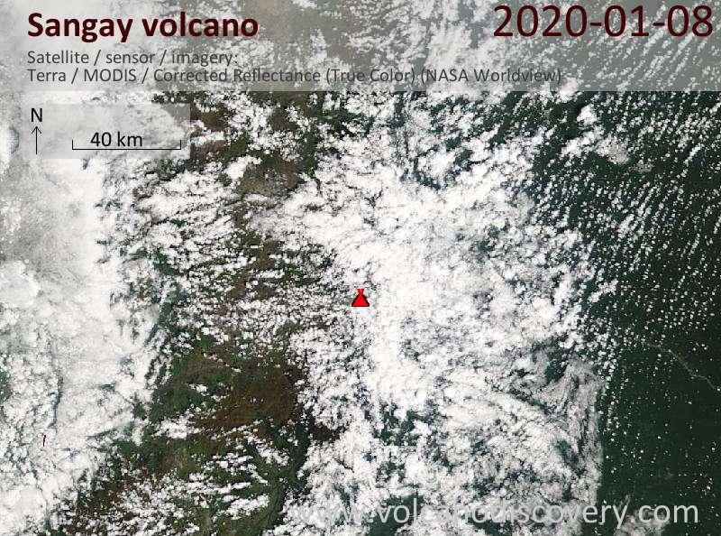 Satellite image of Sangay volcano on  8 Jan 2020