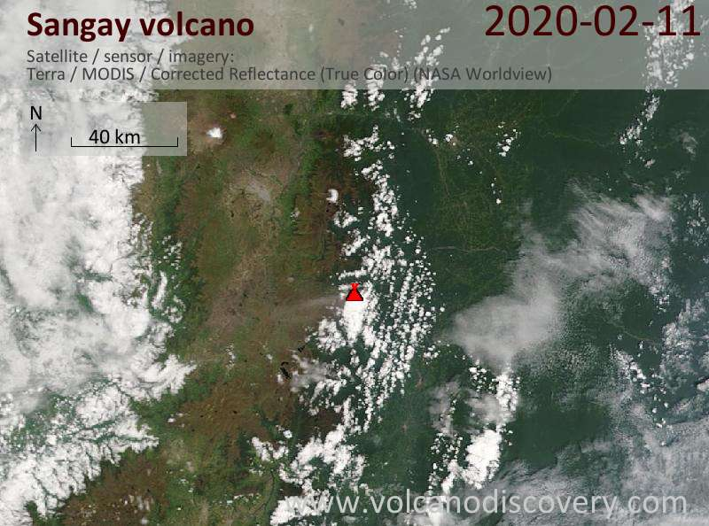 Satellite image of Sangay volcano on 11 Feb 2020