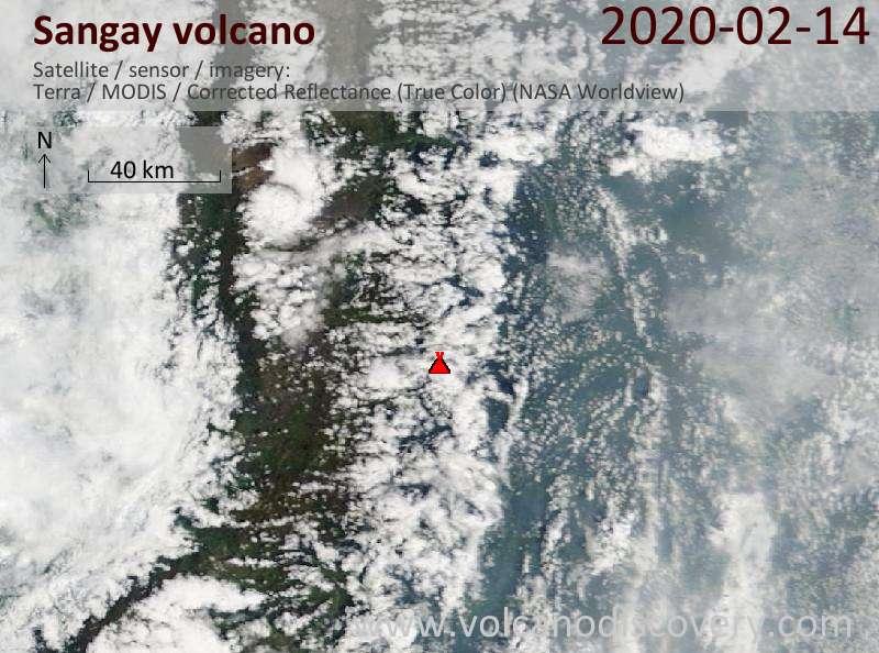 Спутниковое изображение вулкана Sangay 14 Feb 2020