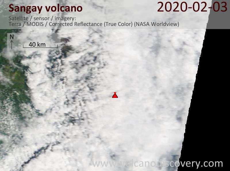 Satellite image of Sangay volcano on  3 Feb 2020