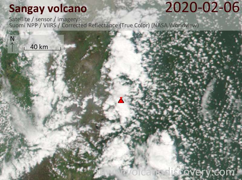 Satellite image of Sangay volcano on  7 Feb 2020
