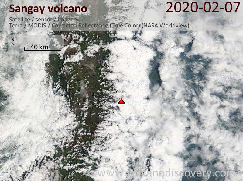 Satellite image of Sangay volcano on  8 Feb 2020