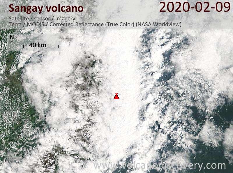 Satellite image of Sangay volcano on  9 Feb 2020