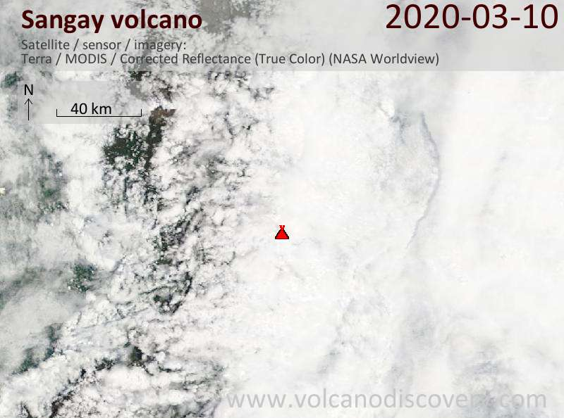 Satellite image of Sangay volcano on 10 Mar 2020