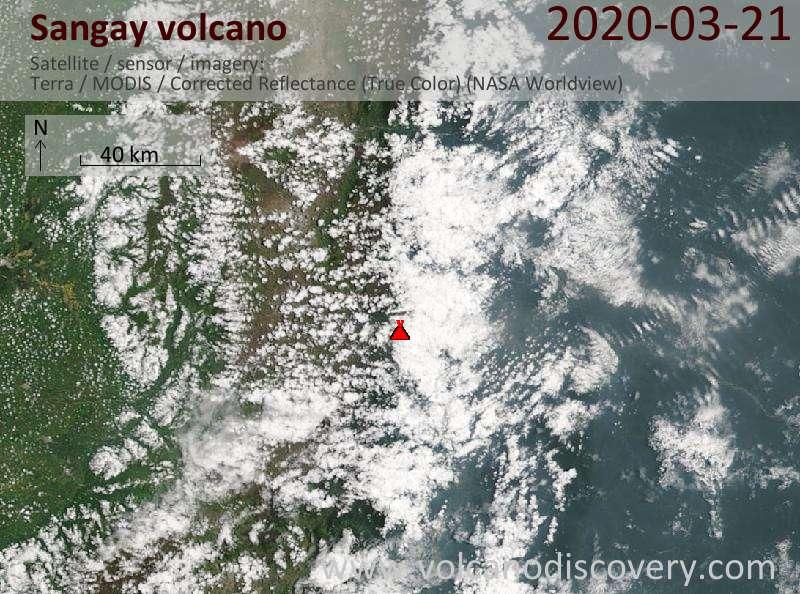 Satellite image of Sangay volcano on 21 Mar 2020