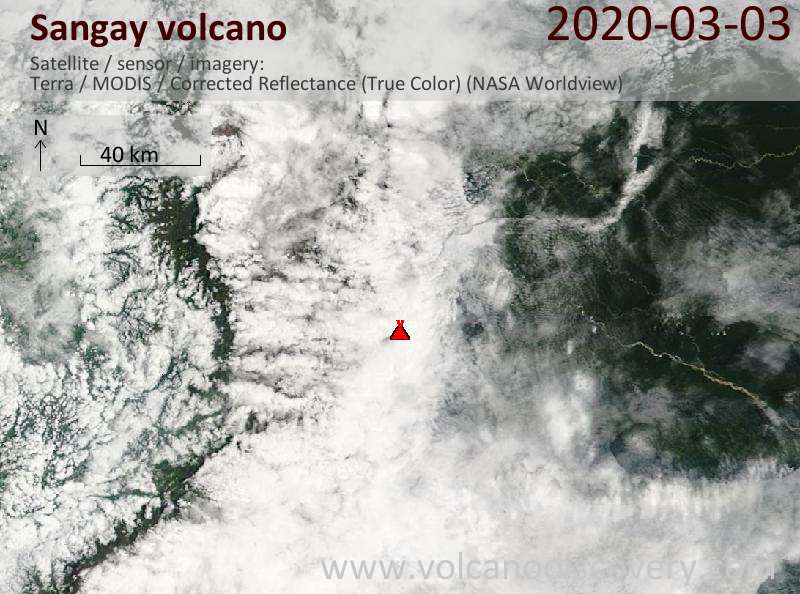Satellite image of Sangay volcano on  3 Mar 2020