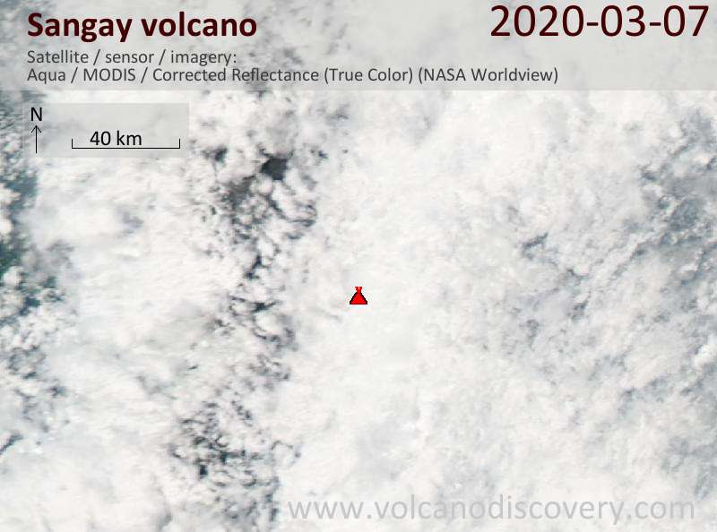 Satellite image of Sangay volcano on  8 Mar 2020