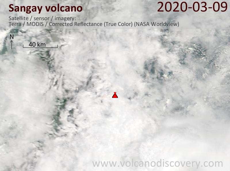 Satellite image of Sangay volcano on  9 Mar 2020