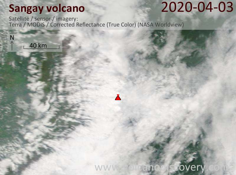 Satellite image of Sangay volcano on  3 Apr 2020