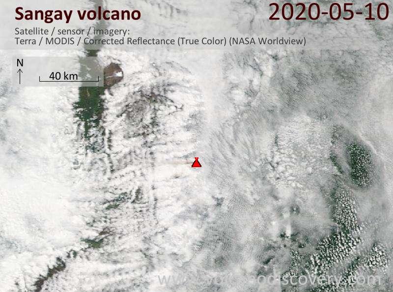 Satellite image of Sangay volcano on 10 May 2020