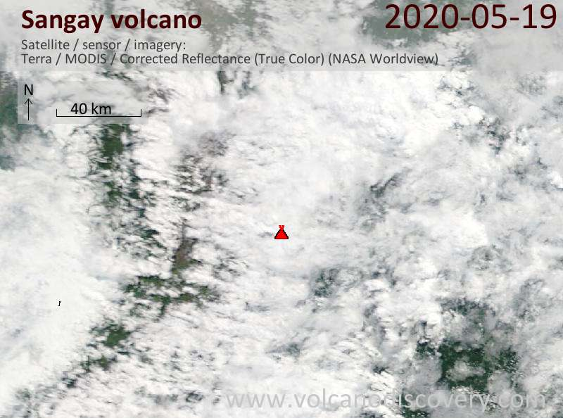Satellite image of Sangay volcano on 19 May 2020