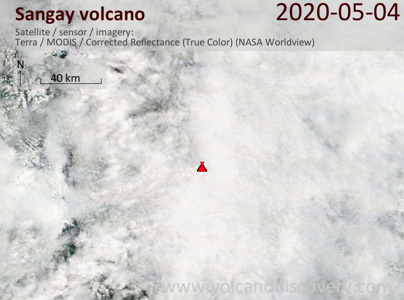 Satellite image of Sangay volcano on  4 May 2020