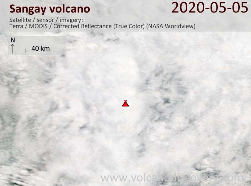 Satellite image of Sangay volcano on  5 May 2020