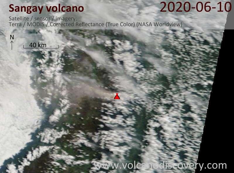 Satellite image of Sangay volcano on 10 Jun 2020
