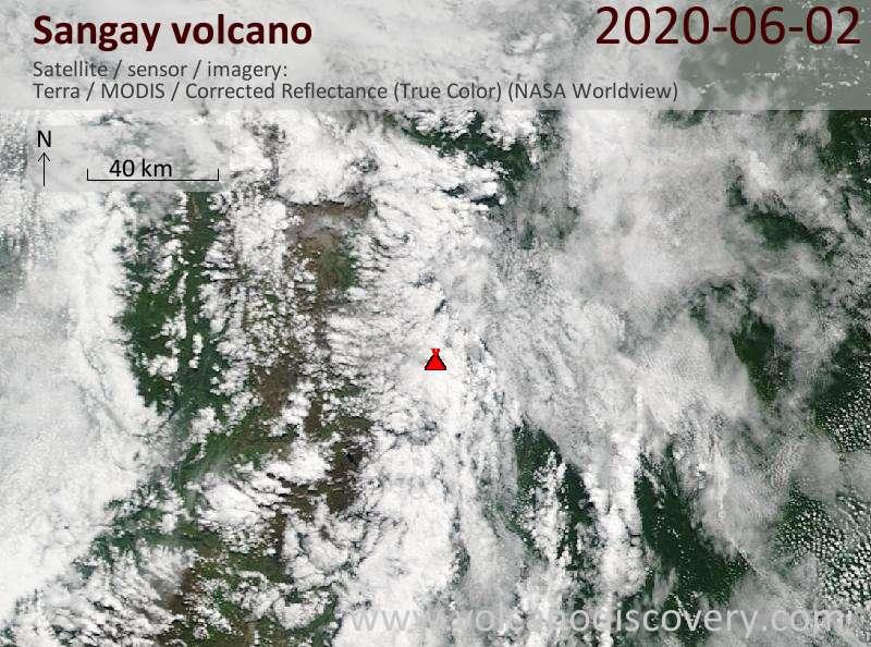 Satellite image of Sangay volcano on  2 Jun 2020