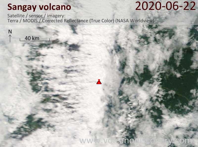 Satellite image of Sangay volcano on 22 Jun 2020