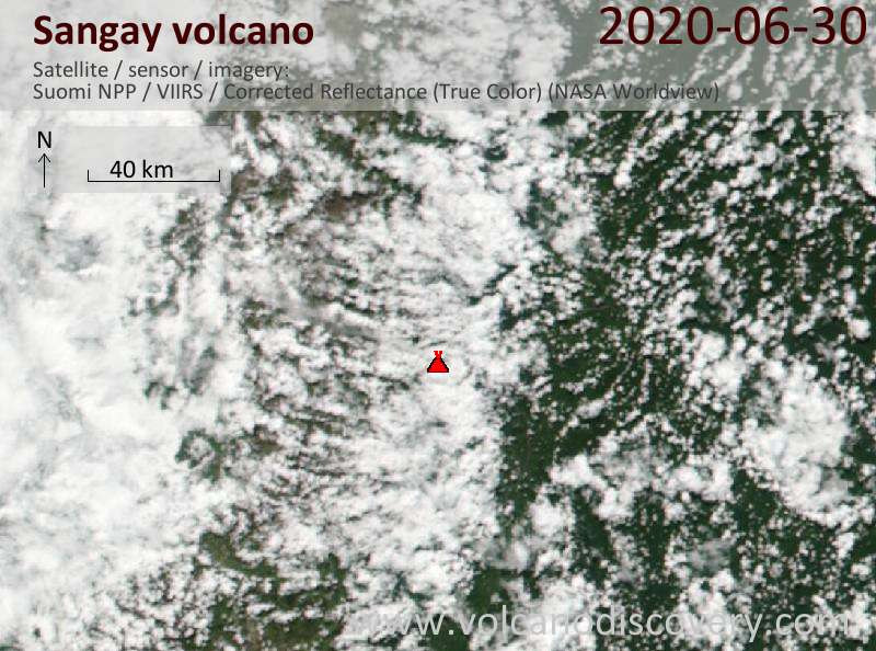 Satellite image of Sangay volcano on 30 Jun 2020