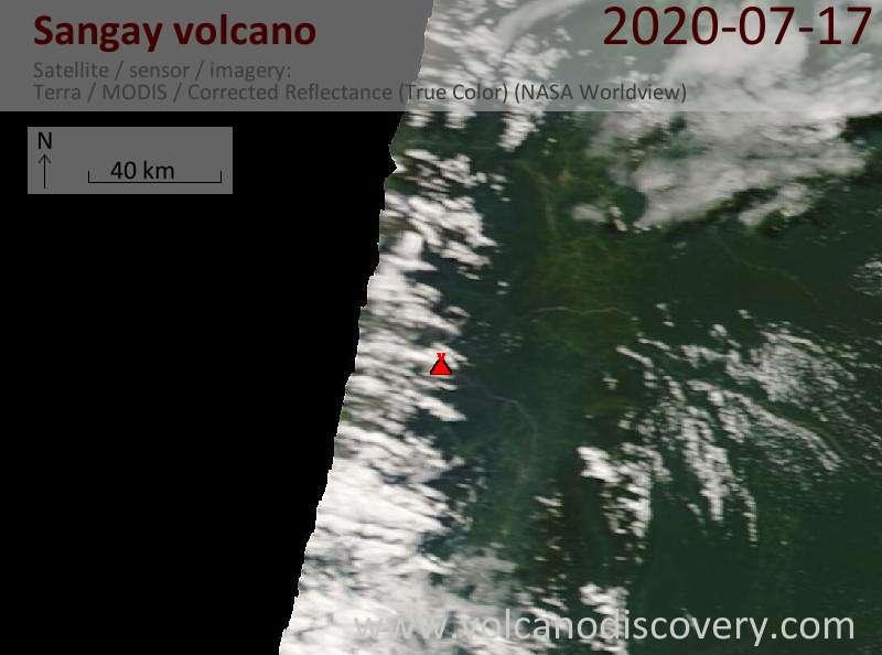 Satellite image of Sangay volcano on 17 Jul 2020