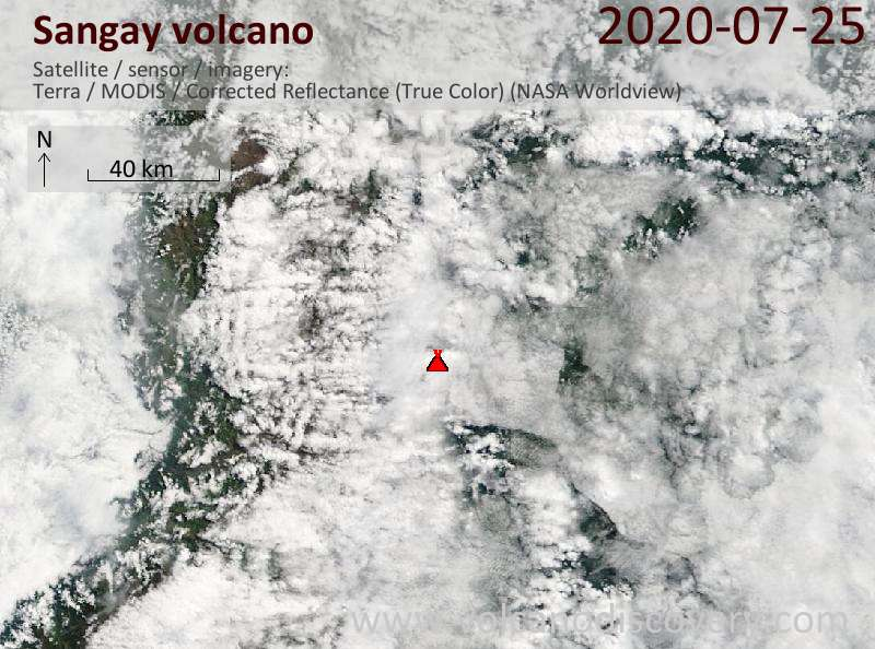 Satellite image of Sangay volcano on 25 Jul 2020