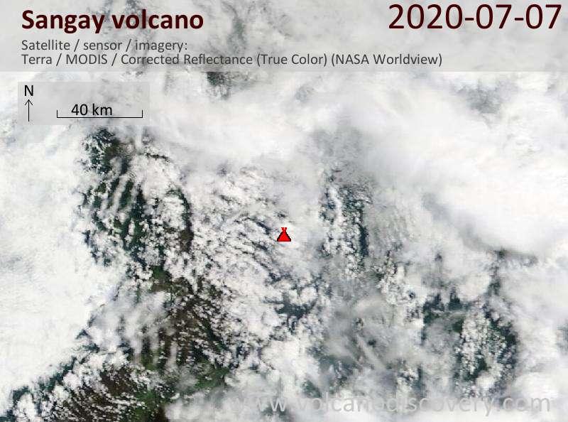 Satellite image of Sangay volcano on  7 Jul 2020