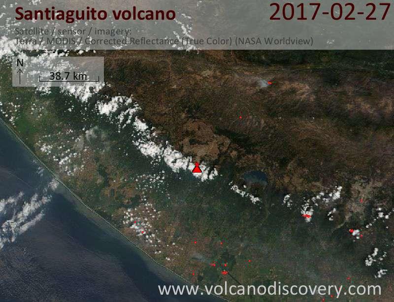 Satellite image of Santiaguito volcano on 27 Feb 2017