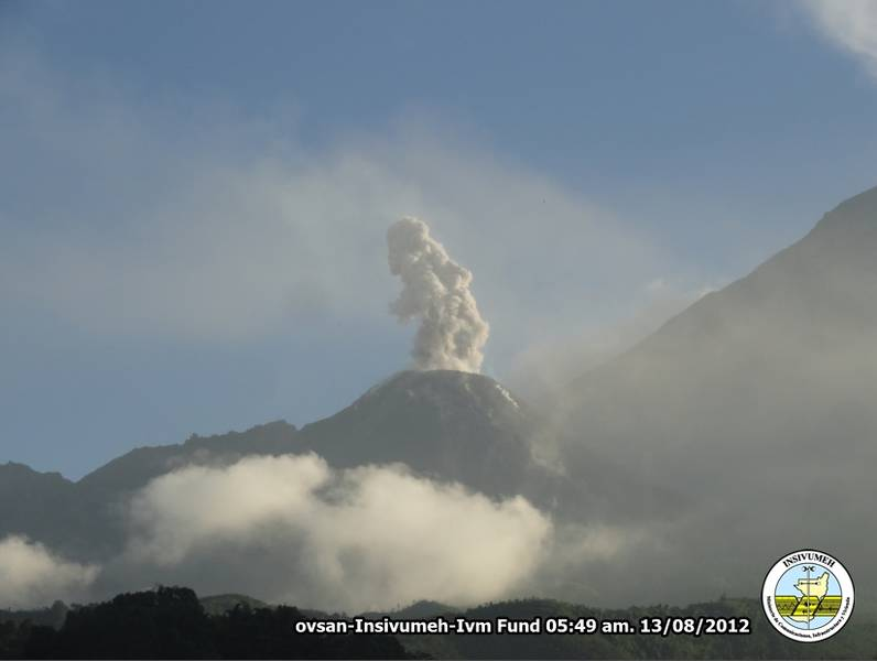 Santiaguito volcano with an ash eruption early on 13 Aug