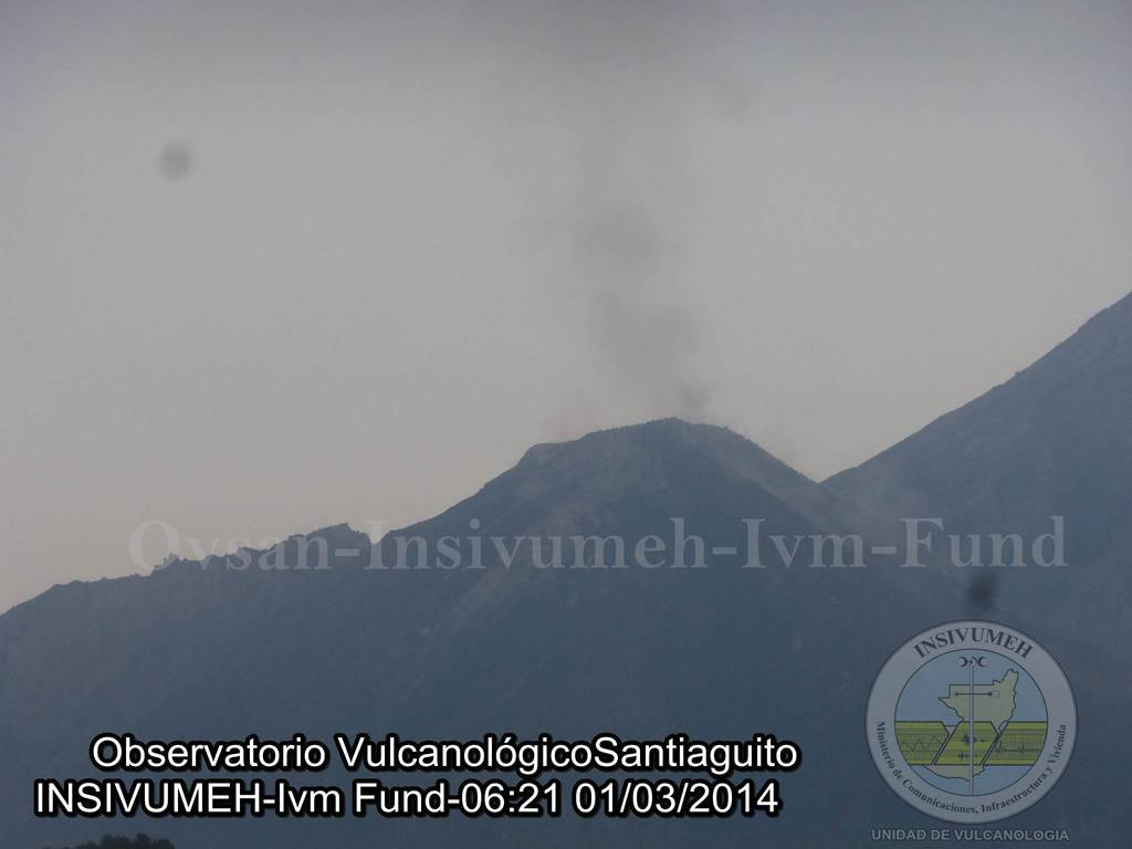 Santiaguito's Caliente lava dome yesterday morning