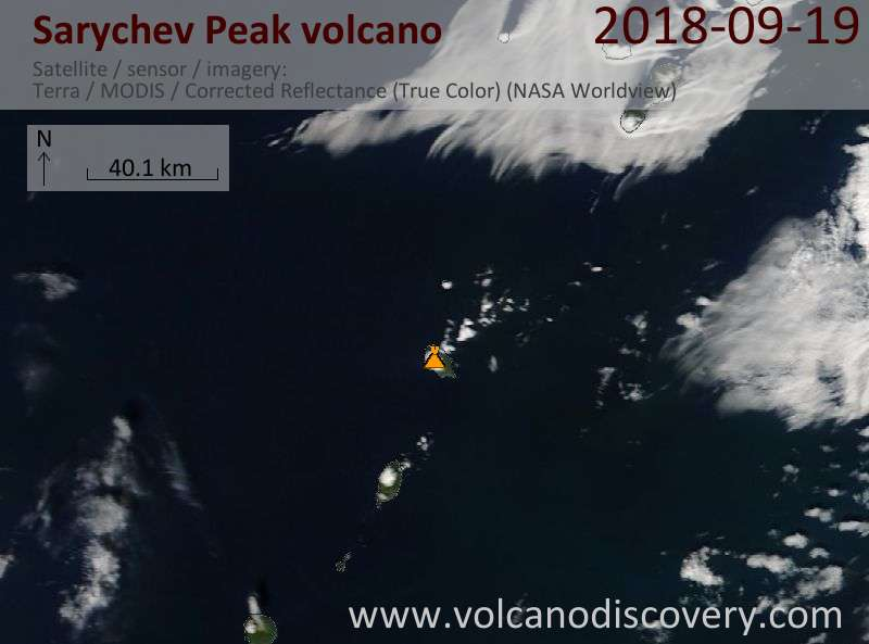 Satellite image of Sarychev Peak volcano on 19 Sep 2018