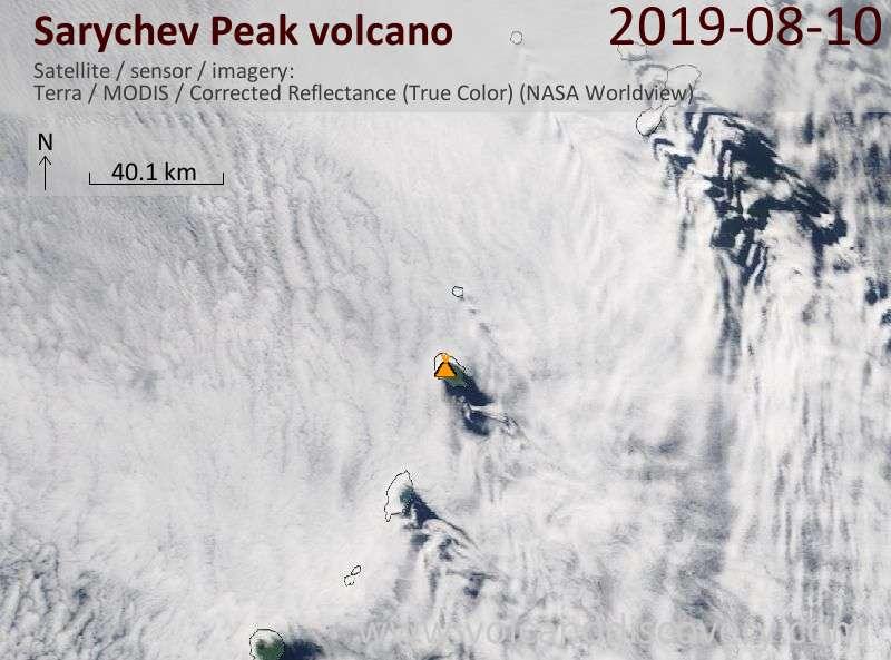 Satellite image of Sarychev Peak volcano on 10 Aug 2019