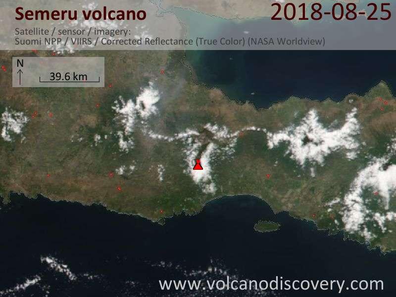 Satellite image of Semeru volcano on 25 Aug 2018