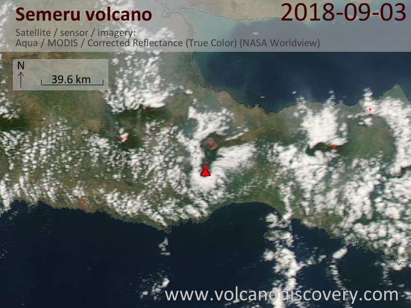 Satellite image of Semeru volcano on  3 Sep 2018
