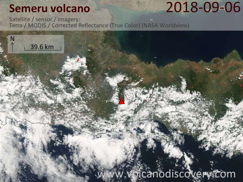 Satellite image of Semeru volcano on  6 Sep 2018