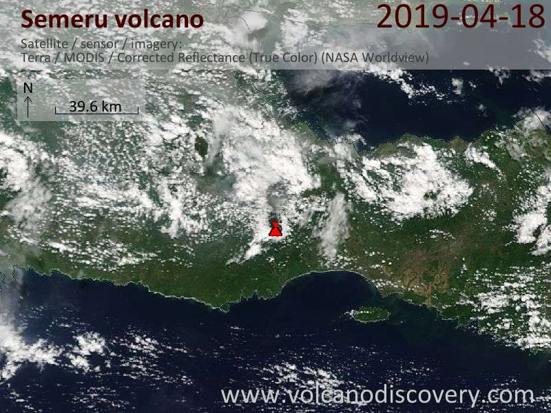 Satellite image of Semeru volcano on 18 Apr 2019
