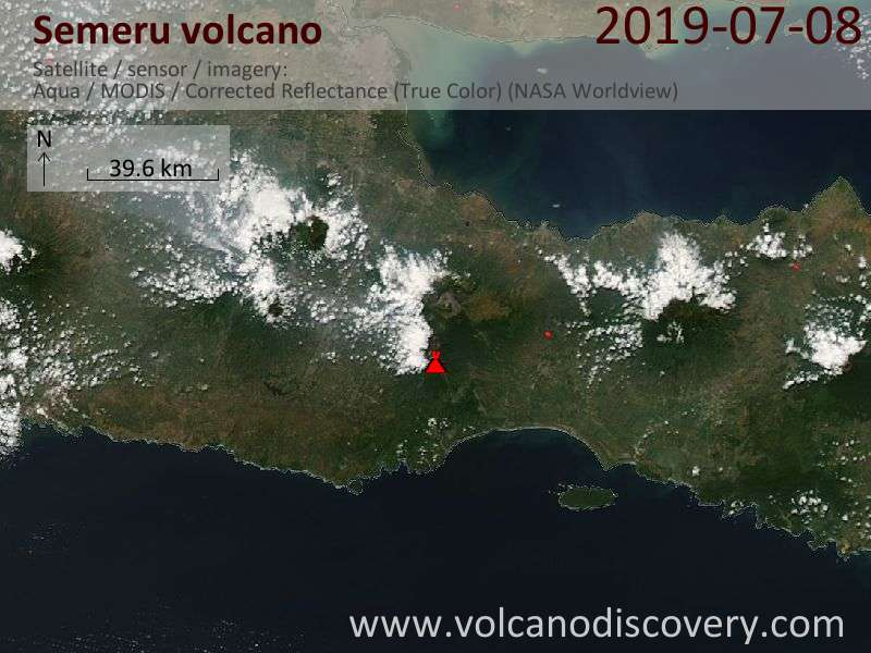 Satellite image of Semeru volcano on  8 Jul 2019