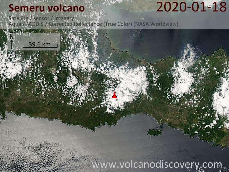 Satellite image of Semeru volcano on 18 Jan 2020