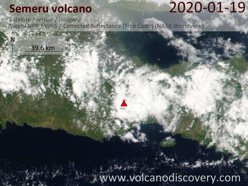 Satellite image of Semeru volcano on 20 Jan 2020