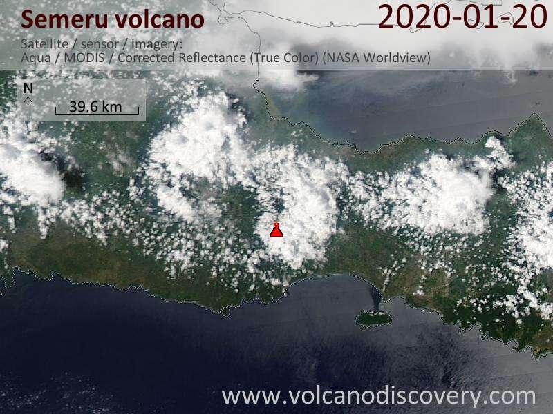 Satellitenbild des Semeru Vulkans am 21 Jan 2020