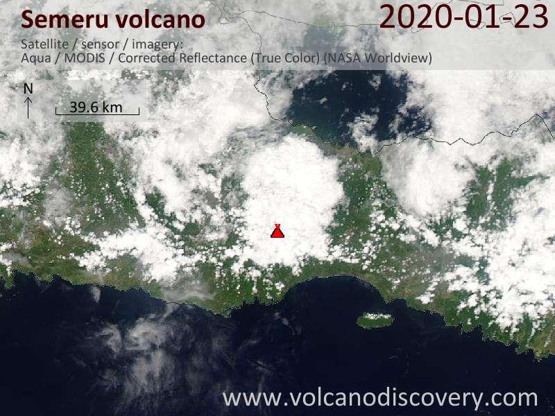 Satellite image of Semeru volcano on 23 Jan 2020