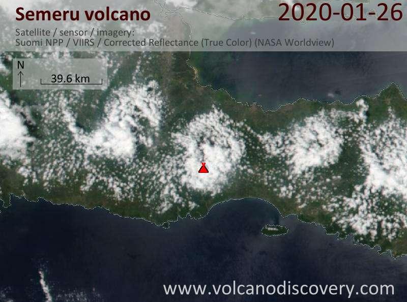 Satellitenbild des Semeru Vulkans am 27 Jan 2020