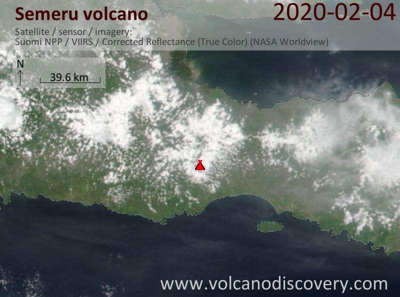 Спутниковое изображение вулкана Semeru  5 Feb 2020